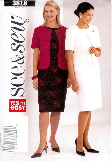 B3818 Butterick Pattern EASY SEE & SEW Jacket, Dress Misses/Miss Petite Size C 18, 20, 22