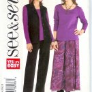 B3943 Butterick Pattern EASY SEE & SEW Vest, Top, Skirt, Pants Misses Size 8, 10, 12