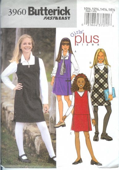 B3960 Butterick Pattern  FAST & EASY Jumper PLUS Girls Size 7, 8, 10, 12, 14