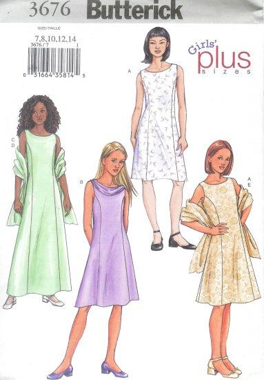 B3676 Butterick Pattern Dress, Scarf PLUS Girls Size 7, 8, 10, 12, 14