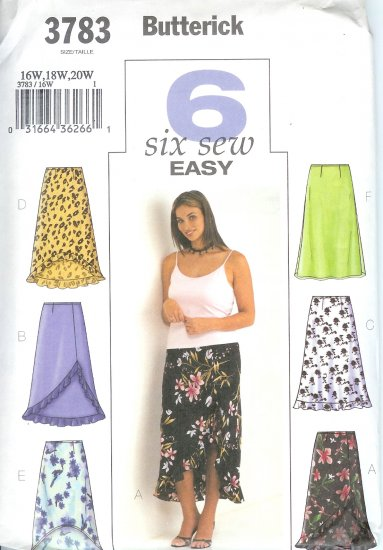 B3783 Butterick Pattern 6 EASY SEW Skirt Misses Size 16W,18W,20W