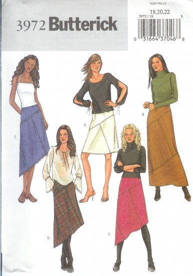 B3972 Butterick Pattern EASY Skirt Misses Size 18, 20, 22