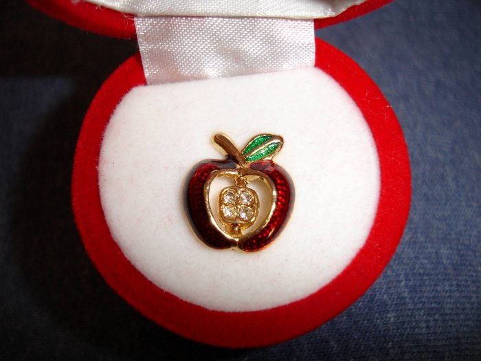 NIP Rhinestone apple pin