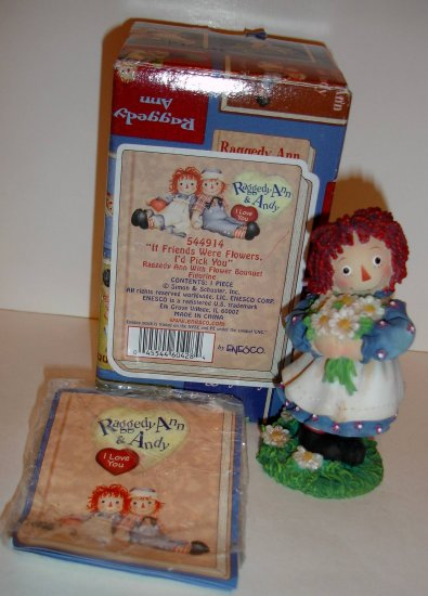 """ENESCO Raggedy Ann & Andy """"If Friends Were Flowers, I'd Pick You"""" IN BOX"""