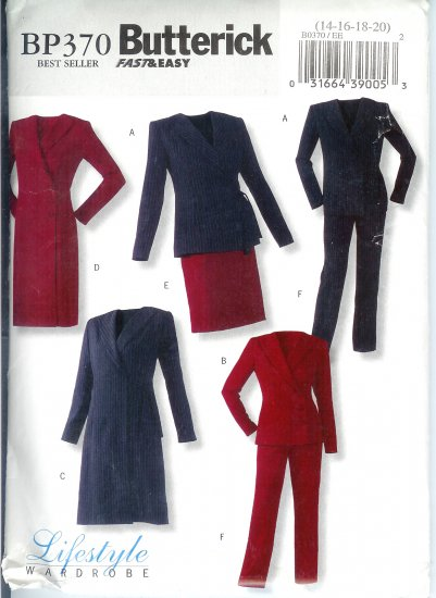 BP370 Butterick Patterns FAST&EASY Jacket, Dress, Skirt, Pants Misses Size 14-20