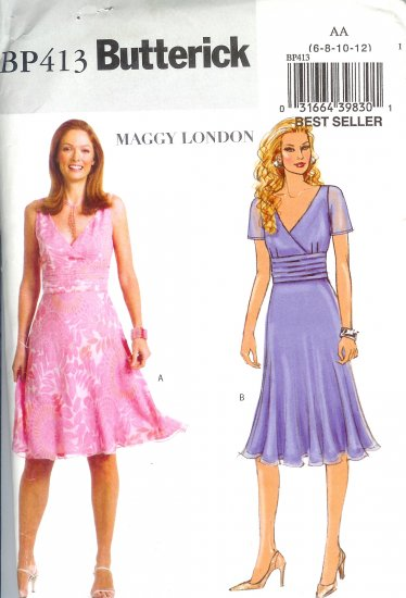 BP413 Butterick Pattern MAGGY LONDON EASY Dress Misses/Miss Petite Size AA 6-12
