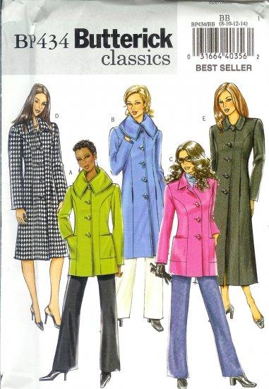 BP434 Butterick Pattern EASY CLASSICS Jacket & Coat Misses/Miss Petite Size BB 8-10-12-14