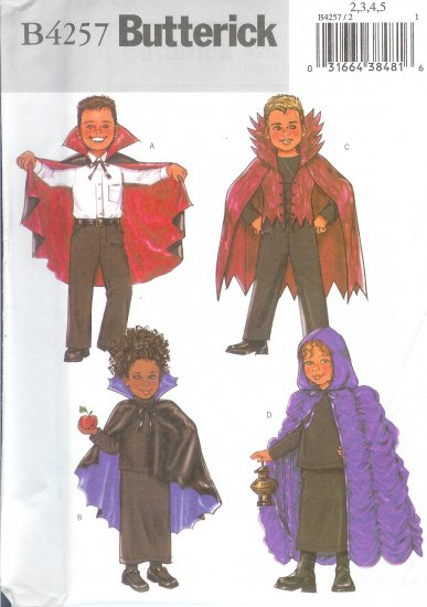B4257 Butterick Pattern EASY Cape Child/Unisex Size 2,3,4,5