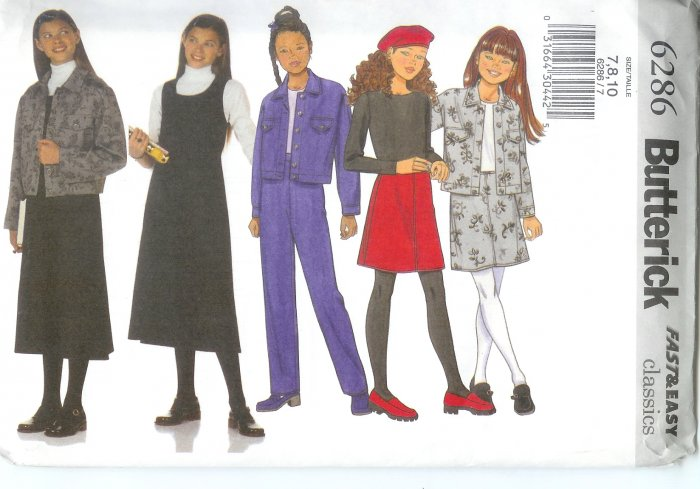 B6286 Butterick Pattern CLASSICS FAST&EASY Jacket, Jumper, Skirt, Pants Girls Size 7,8,10