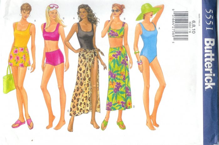 B5551 Butterick Pattern EASY Swimsuit & Cover up Misses Size 6,8,10