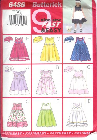B6486 Butterick Pattern 9 SEW FAST&EASY Dress Girl Todd/Child Size 4, 5, 6