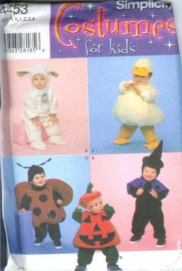 S4453 Simplicity Pattern COSTUMES FOR KIDS Unisex Toddlers Size A 1/2, 1, 2, 3, 4