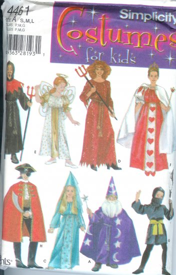 S4461 Simplicity Pattern COSTUMES FOR KIDS Unisex Size A  S, M, L