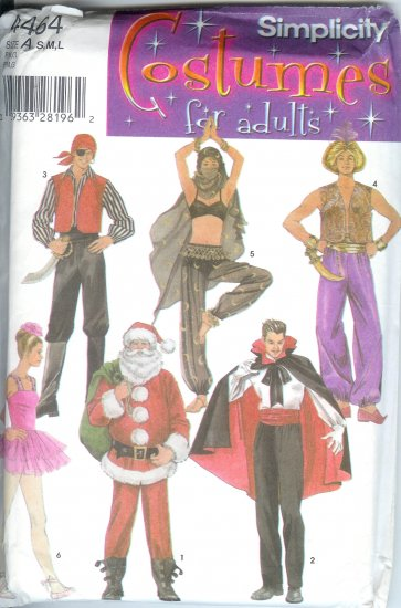 S4464 Simplicity Pattern COSTUMES FOR ADULTS Size A  S, M, L