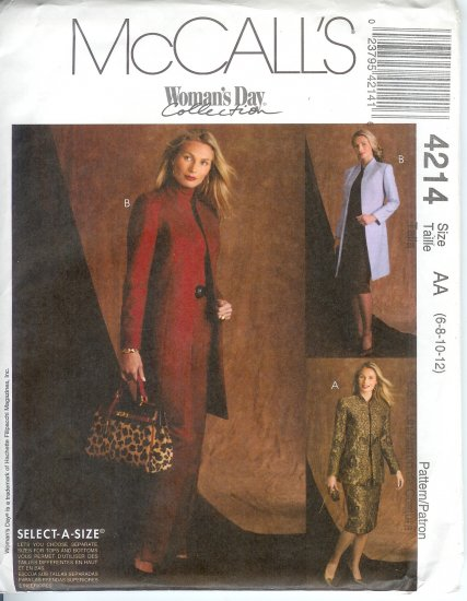 M4214 McCalls Pattern WOMANS DAY Lined Jacket, Pants, Skirt Misses/Miss Petite Size AA 6-8-10-12