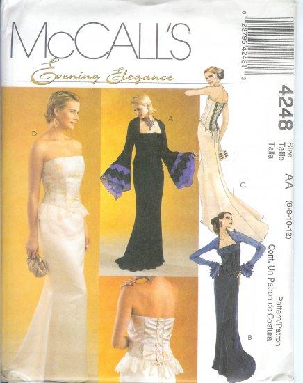 M4248 McCalls Pattern EVENING ELEGANCE Lined Tops,Skirt Misses/Miss Petite Size FF 16-18-20-22