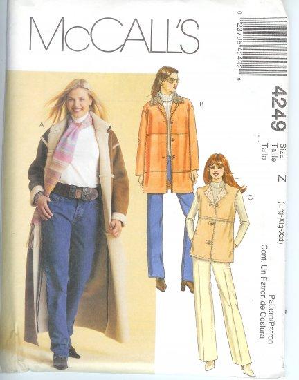 M4249 McCalls Pattern Coat, Jacket, Vest Misses Size Y  XS-S-M