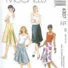 M4307 McCalls Pattern Skirts Misses Size EE 14-16-18-20