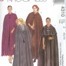 M4310 McCalls Pattern EASY Lined Cape in Two Lengths Misses/Miss Petite Size Y  S-M-L