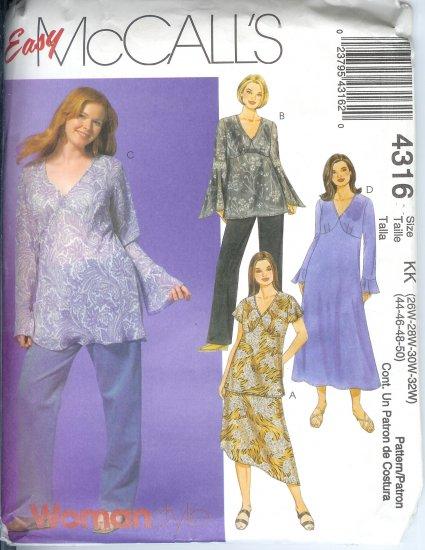 M4316 McCalls Pattern EASY Woman Style- Tops,Dress,Skirt, Pants Womens/Womens Petite Size KK 26W-32W