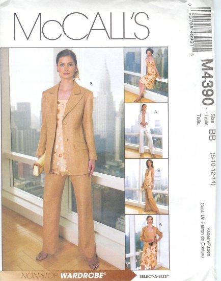 M4390 McCalls NON-STOP Jacket, Bias Top or Tunic, Bias Skirt & Pants Misses/Miss Petite Size  8-14