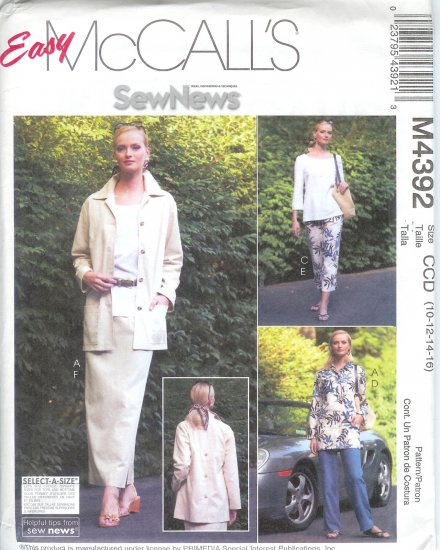 M4392 McCalls Pattern EASY Unlined Jacket, Tops, Pants & Skirt  Misses/Miss Petite Size 12-14-16-18