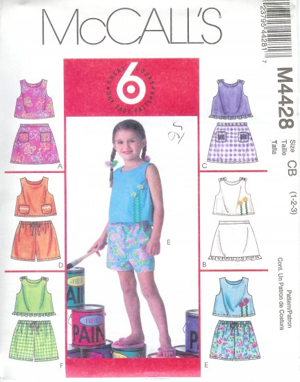 M4428 McCalls 6 EASY GREAT LOOKS Tops, Skorts, Shorts Child/Toddler Size CB 1-2-3