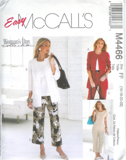 M4466 McCalls Pattern EASY WOMANS DAY Cardigan, Top, Pants Misses Size FF 16-18-20-22