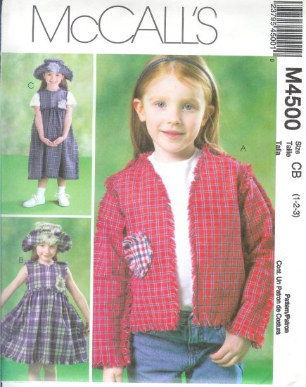 M4500 McCalls  PatternJacket, Dress in two lengths & Hat Toddler/Child Size CF 4-5-6