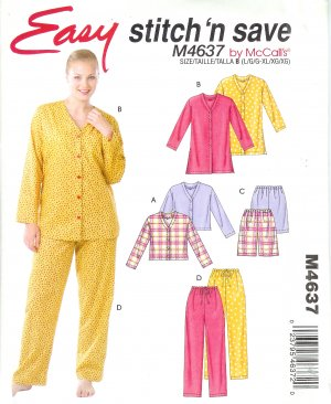 M4637 McCalls Pattern  STITCH N SAVE Tops, Shorts, Pants Misses Size B  L, XL