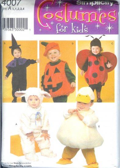 S4007 Simplicity Pattern COSTUMES for KIDS Toddler Size A 1/2, 1, 2, 3, 4