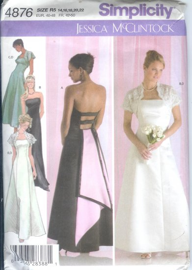 S4876 Simplicity Pattern Evening Gown by Jessica McClintock Misses Size R5 14,16,18,20,22