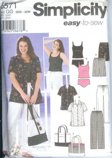 S5571 Simplicity Pattern EASY TO SEW Pants or Shorts, Shirt, Bag & Knit Tankini Womens Size 26W-32W
