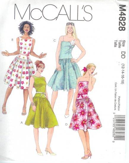 M4828 McCalls Pattern Dresses & Belts Misses/Miss Petite Size DD 12-14-16-18