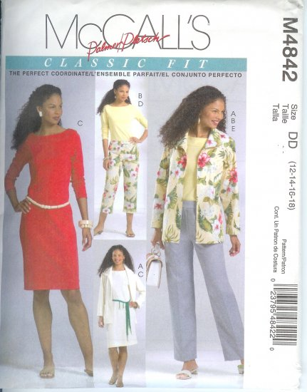 M4842 McCalls Pattern PALMER PLETSCH Jacket,Top,Dress,Pants Misses Size GG 18-20-22-24