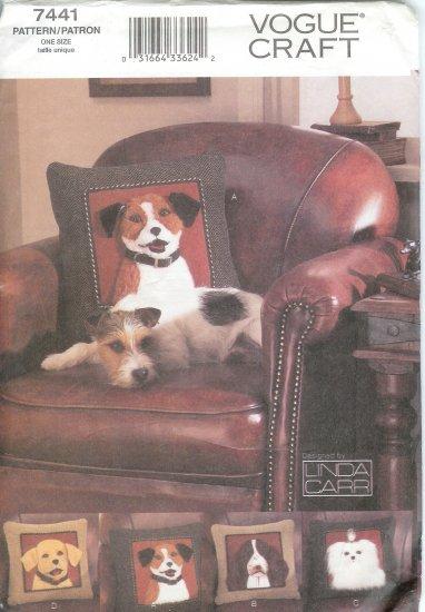 V7441 Vogue Pattern CRAFT Plush Dog Pillows