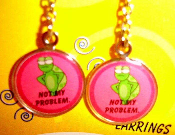 """SLACKER The Turtle Earrings  - """"NOT MY PROBLEM"""" (NIP)"""