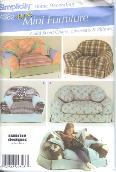 S4382 Simplicity Pattern MINI FURNITURE Child Size Chairs, Loveseats, Pillows