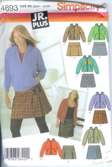 S4893 Simplicity Pattern Mini Skirts, Knit Hoodie Junior Plus Size BB 23/24+ - 31/32+