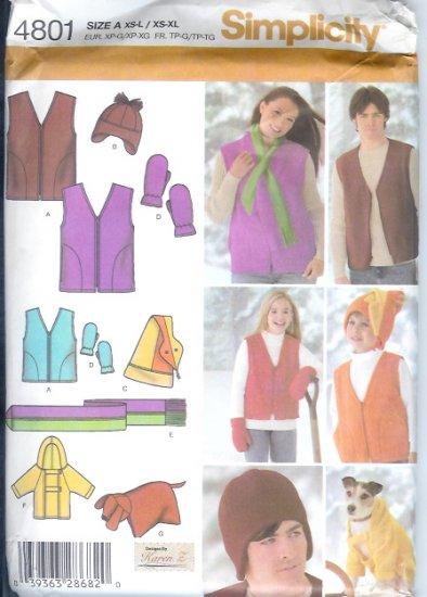 S4801 Simplicity Vest,Hats,Scarf, Mittens, Dog Coat, Pillow Unisex Childs/Teens/Adults XS-L / XS--XL