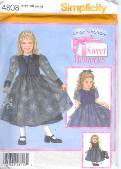 """S4808 Simplicity DAISY KINGDOM Sweet Memories Dress, Jacket Child Size3-6 & Doll Clothes 18"""" Doll"""