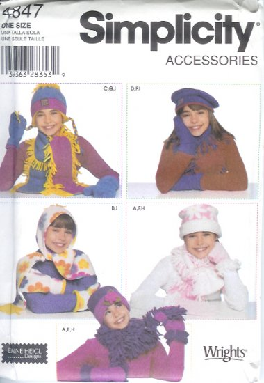 S4847 Simplicity Pattern ACCESSORIES Fleece Hats, Scarves, Mittens Girls One Size