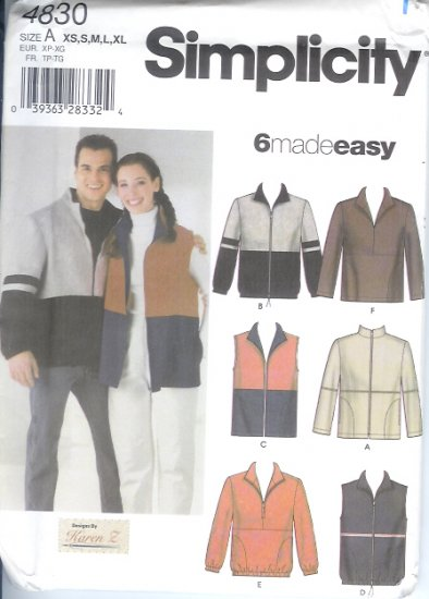 S4830 Simplicity Pattern 6 MADE EASY Jacket or Vest or Top Misses/Mens/Teens Size A  XS, S, M, L, XL