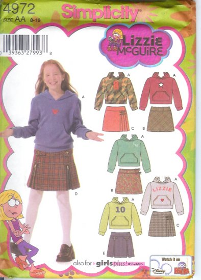 S4972 Simplicity LIZZIE McGUIRE Skirts and Knit Top Girls Plus Size BB 8 1/2 - 16 1/2