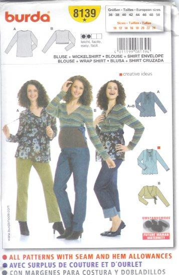 Burda 8139 Pattern MATERNITY Blouse Size 10 -24