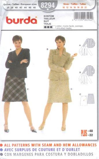 Burda 8294 Pattern Suit Size 10 - 22