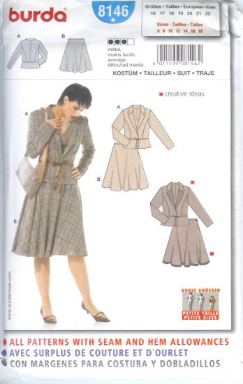 Burda 8146 Pattern Suit Size 6, 8, 10, 12, 14, 16