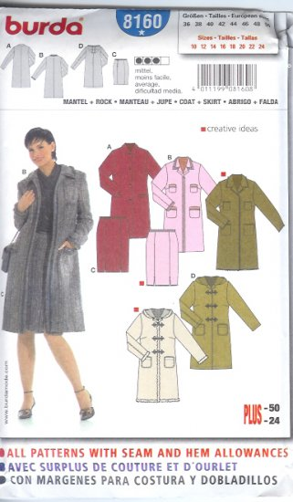 Burda 8160 Pattern Coat and Skirt Size 10 -24