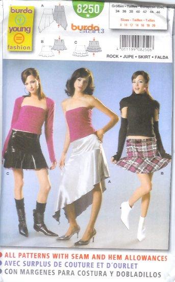 Burda 8250 Pattern YOUNG FASHION Skirt Size 8, 10, 12, 14, 16, 18, 20
