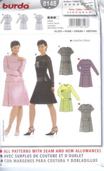 Burda 8148 Pattern Dress Size 6, 8, 10, 12, 14, 16,18, 20